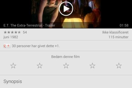 Google Play bruger den danske Wikipedia til beskrivelser afudlejningsfilm