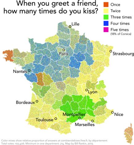 Det sociale kys er et kulturfænomen iFrankrig