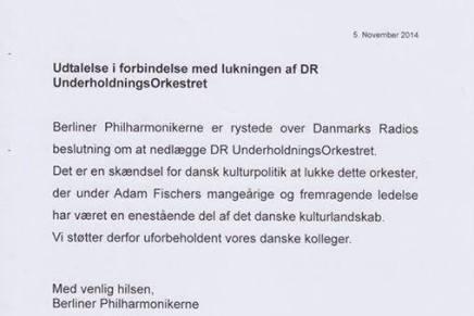 Berliner Filharmonikerne sender en klage til DanmarksRadio