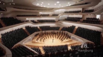 Her er de første billeder af den store koncertsal i den nye filharmoni iHamburg