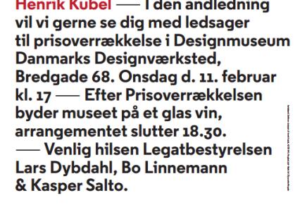 Typografisk designer Henrik Kubel modtager Knud V. EngelhardtsMindelegat