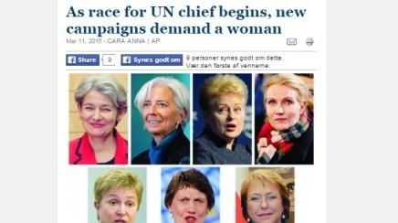 Kvinder kræver kvinde i spidsen forFN