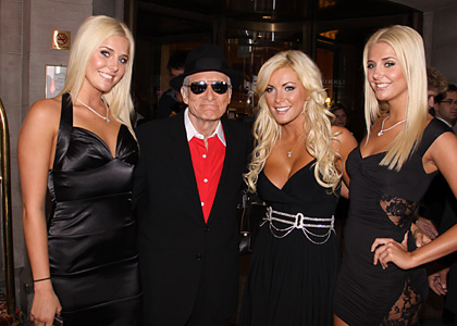 Playboy Hugh Hefner brings three blonde playgirls to Toronto International Film Festival premiere, Toronto