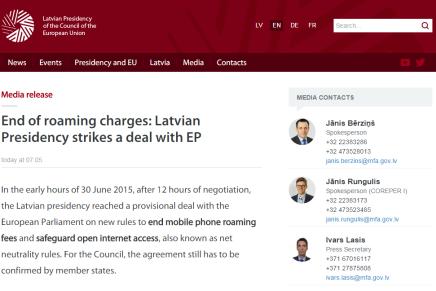 Det lettiske EU formandskab afskaffer roaming og sikrer EUnetadgang