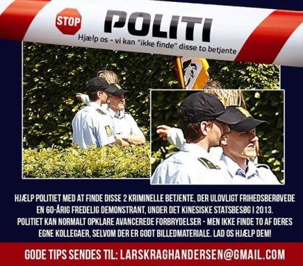 Den danske befolkning leder efter to kriminellepolitibetjente