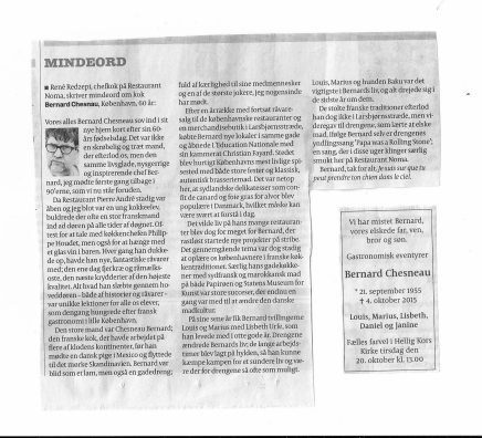 Mindeord i Politiken om Chesneau Bernard af RenéRedzepi